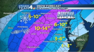 The snow forecast as of Wednesday evening at 7pm Photo Credit: NBC Washington