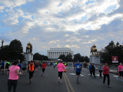 One of my favorite views from the entire race: running back over Memorial Bridge during mile 3 with the Lincoln Memorial in the backgroun