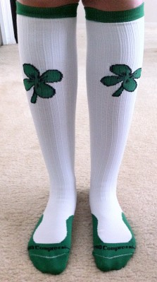 Sporting my Shamrock Marathon Socks while relaxing at home
