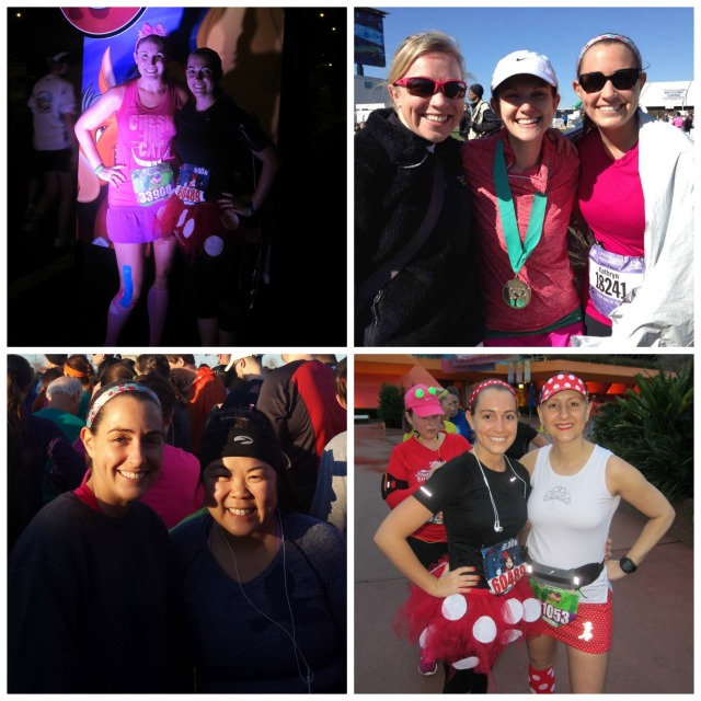 With Heather during the Disney World 10k, Christine and Cyanne after the Cherry Blossom Ten Mile Run, Jenny before the Cherry Blossom Ten Mile Run, and Kimberley during the Disney World 10k