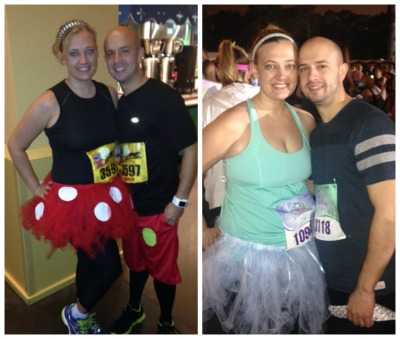 Lesley dressed up as Minnie Mouse for 2013 Tower of Terror 10 Miler and Cinderella for 2014 Princess Half Marathon