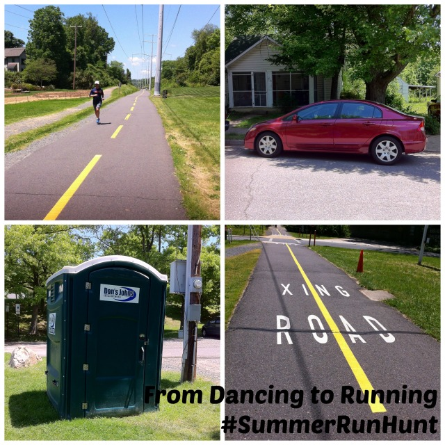 "During Saturday's run, I found another runner, a porta potty, a red car, and an ""animal"" (human) crossing sign"