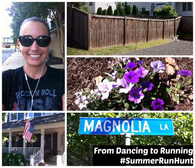 "During Monday's run I took a selfie and found a flag, a fence, purple flowers, and a ""tree"" named street"