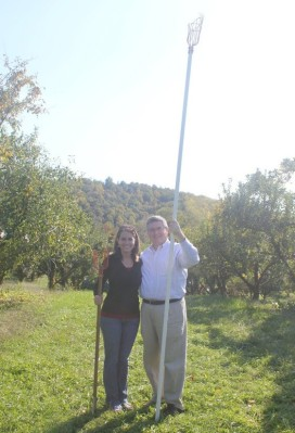 My dad and I apple picking at a Virginia orchard in October 2011