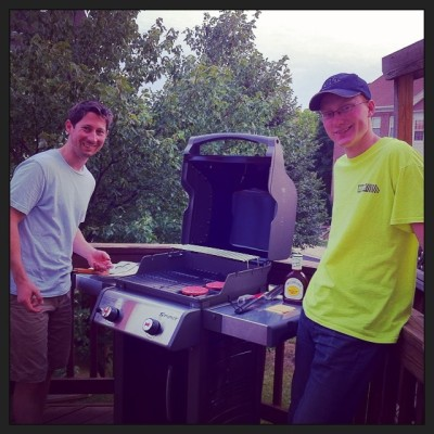 Preston and his brother cooking burgers on our brand new grill!
