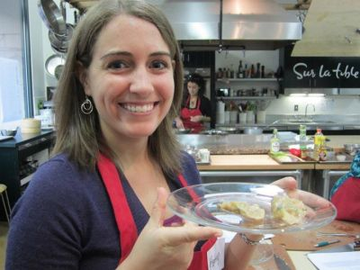 Showing off my gyoza at a Japanese cooking glass at Sur La Table