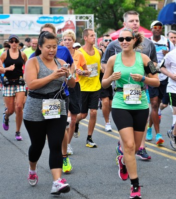 Jenny and I just after we crossed the start line Photo Credit: Potomac River Running