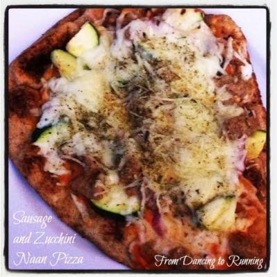 sausage and zucchini naan pizza
