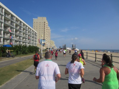 We ran on the boardwalk for the last mile of the race