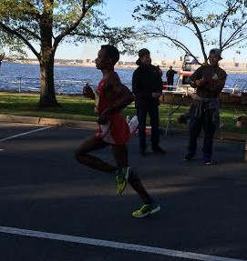 The lead runner at mile 13 of the race