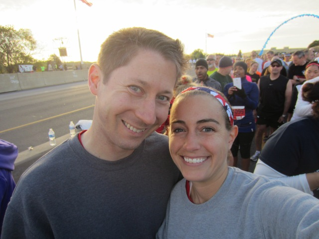 Preston and I in the corral before the start of the race
