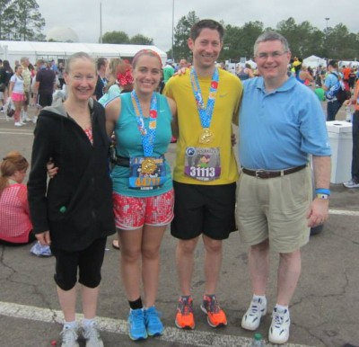 Celebrating the completion of my first half marathon with Mom and Dad