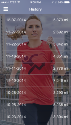 My most recently logged miles and funds raised on my Charity Miles app