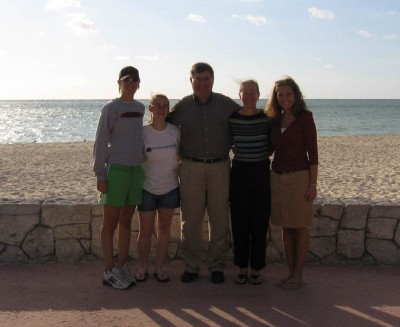 My parents, sisters, and I on vacation in the Bahamas in December 2005