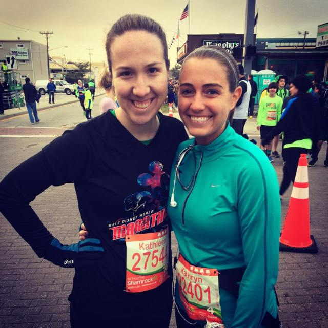 Kathleen and I before the start of the Shamrock 8k back in March 2015, which is the last race that we ran together