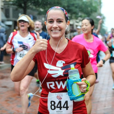 Nearing the finish line at the Firecracker 5k on July 4th Photo Credit: Potomac River Running