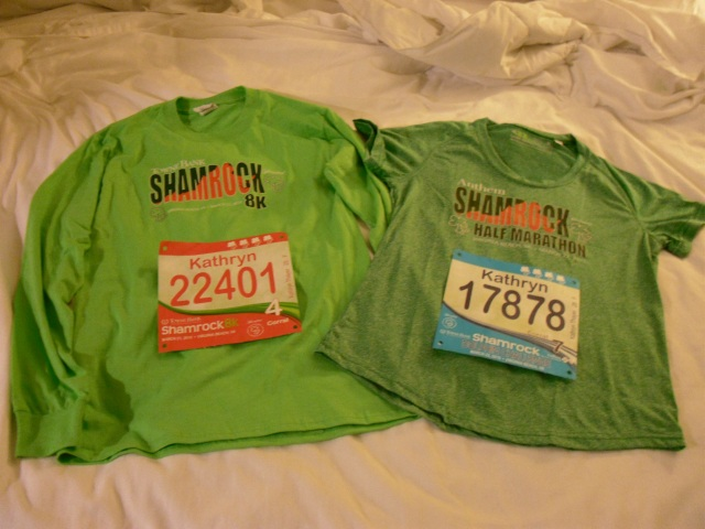 My shirts and bibs for the 8k and half marathon