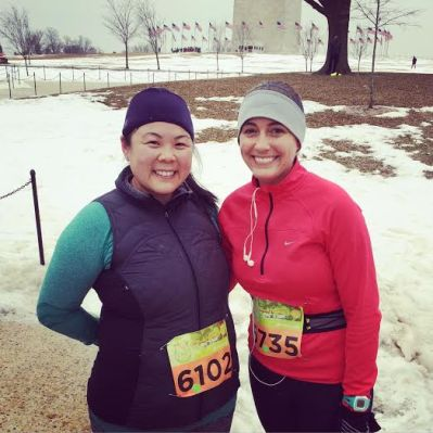 Jenny and I in between the 5k and the 10k