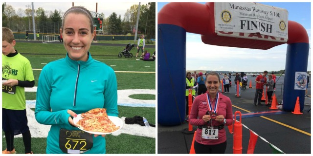 Celebrating post race on Saturday at the Jaguar 5k and post race on Sunday at the Manassas 10k