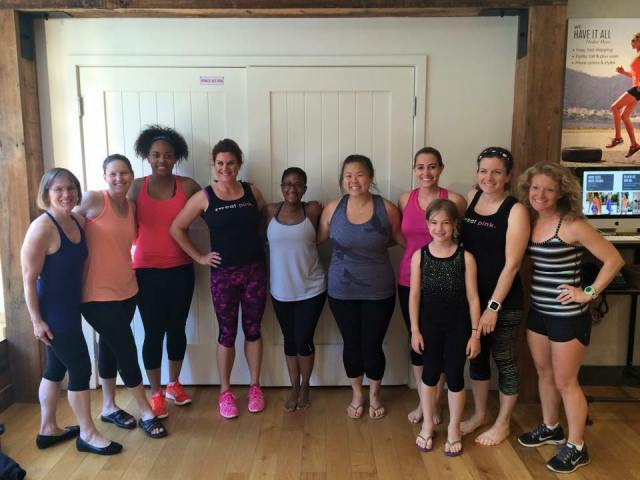 With fellow Sweatpink Ambassadors after our yoga class Photo Credit: Deborah from Confessions of a Mother Runner