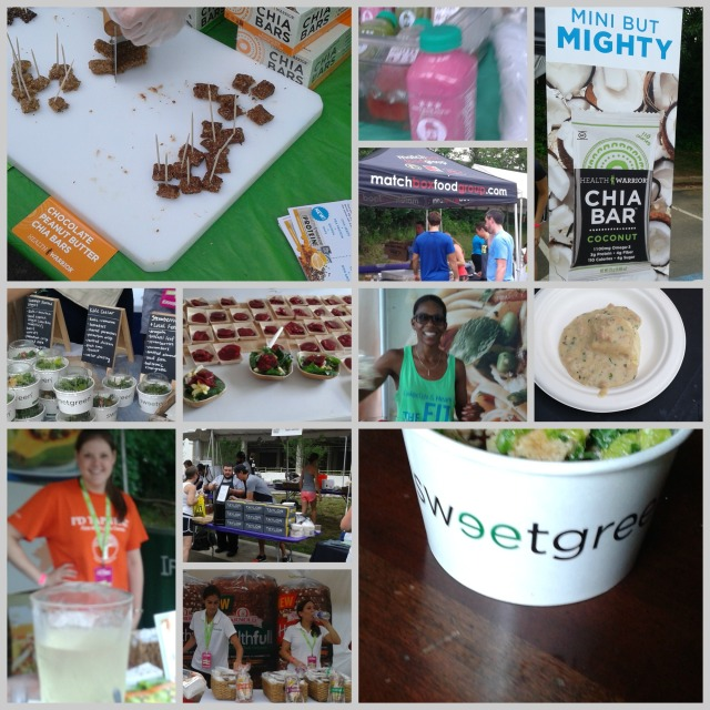 A sampling of all the delicious samples in the Finisher's Village Photo Credit: Erika at MCM Mama Runs