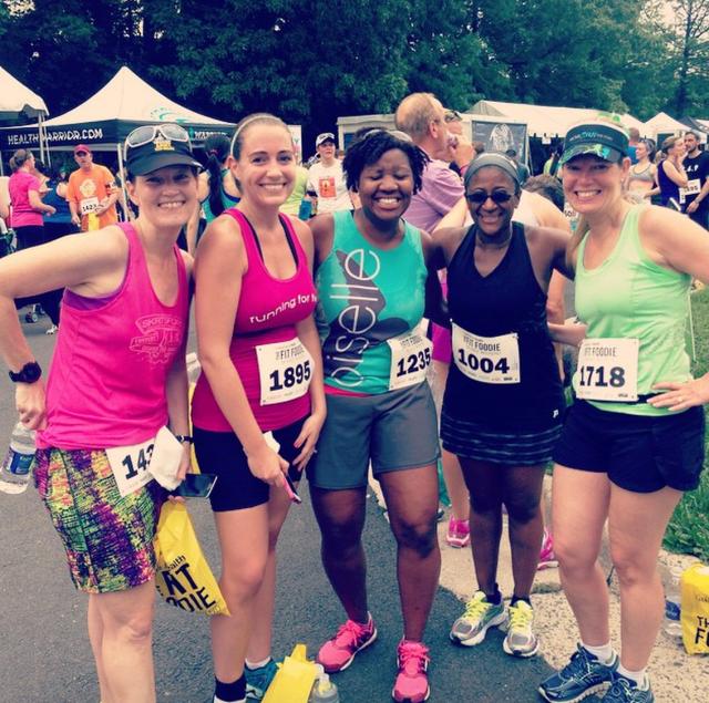 Post race with Erika, Courtney, Mar, and Amy Photo Credit: Erika at MCM Mama Runs