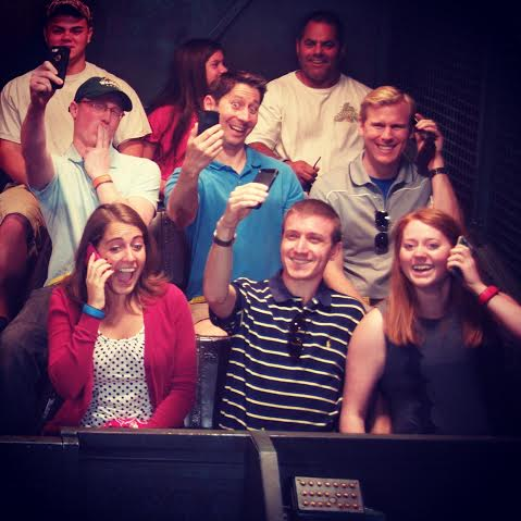 Selfies and phone calls on Tower of Terror during our family vacation at Disney World last December
