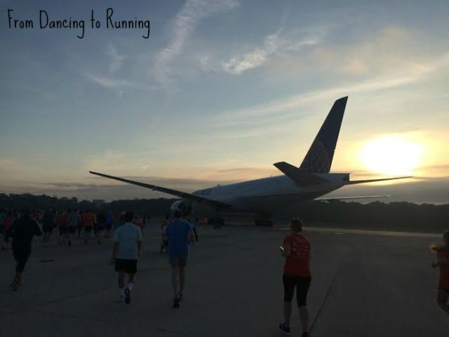 running past a plane