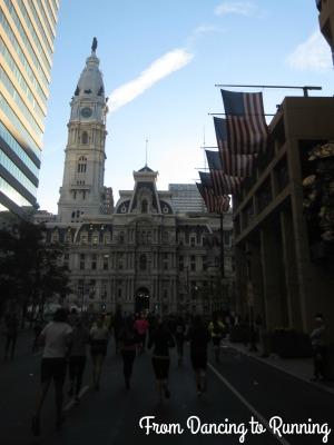 Running towards City Hall