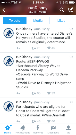 Some of the tweets that runDisney tweeted Saturday evening