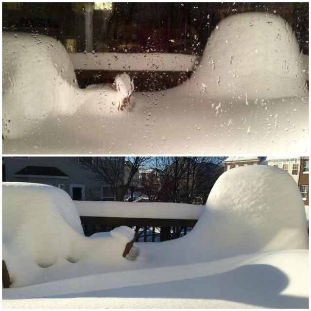 On top - 8:15 p.m. on Saturday On bottom - Sunday morning after it snowed 30 inches over the span of almost 36 hours