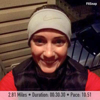 Can you tell how exhausted I am in this picture? I escaped the house for this 2.81 mile on Thursday after a very long day with an extremely fussy baby.