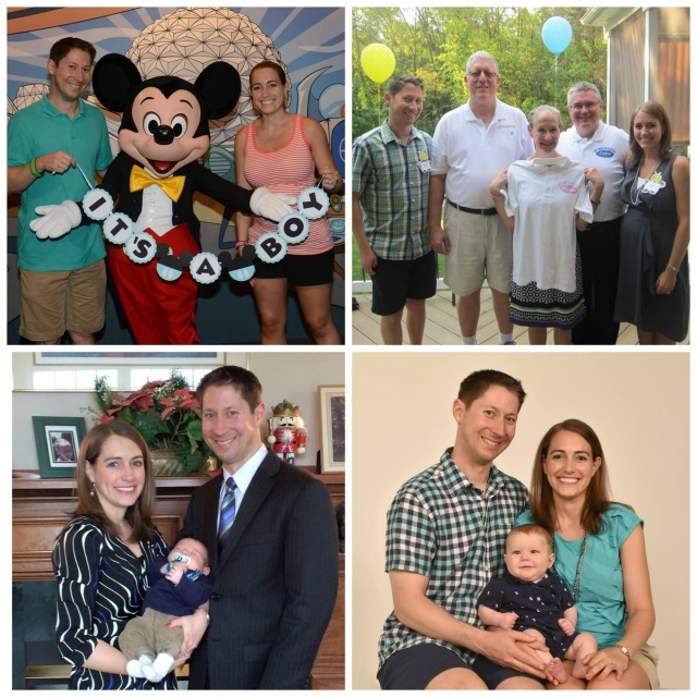Our gender reveal with Mickey, at our baby shower with our parents, the day of little man's baptism, and our family photo from little man's 6 month photo shoot