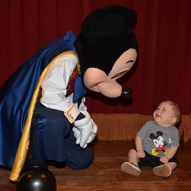 Little man with Mickey when he met him back in August. His reaction to Mickey Mouse was just priceless!