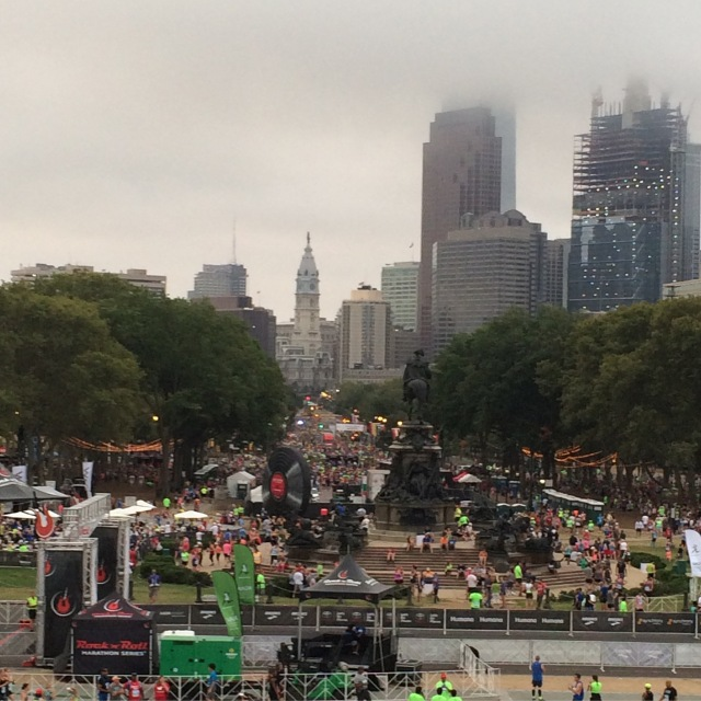 The view of the staging area from the top of the Art Museum Steps. It was quite hazy and humid that morning!