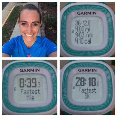 I had lots to celebrate after Thursday evening's run, which was the only time that I ran last week without the stroller