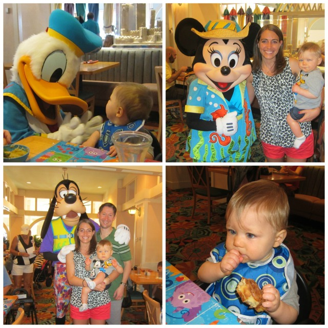 Scenes from breakfast, including little man's first Mickey waffle!