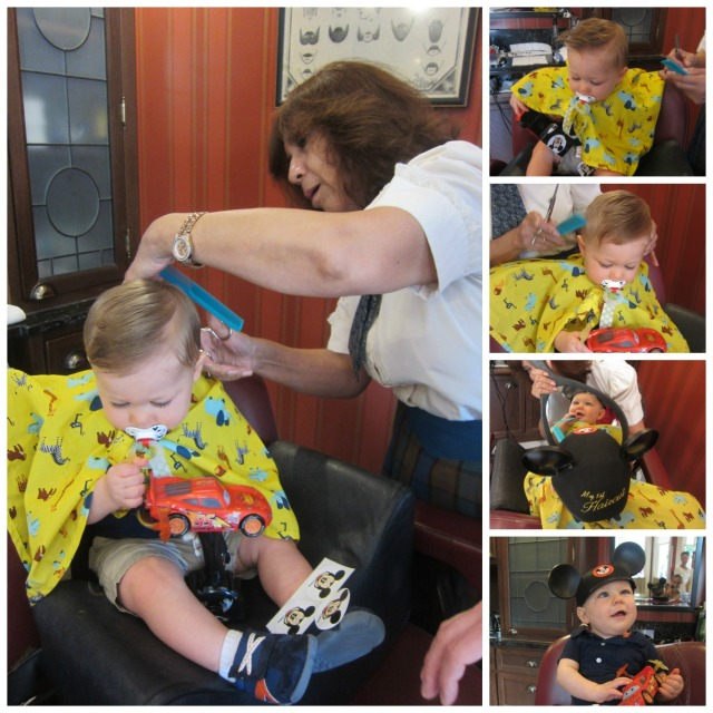 Little man getting his first hair cut!