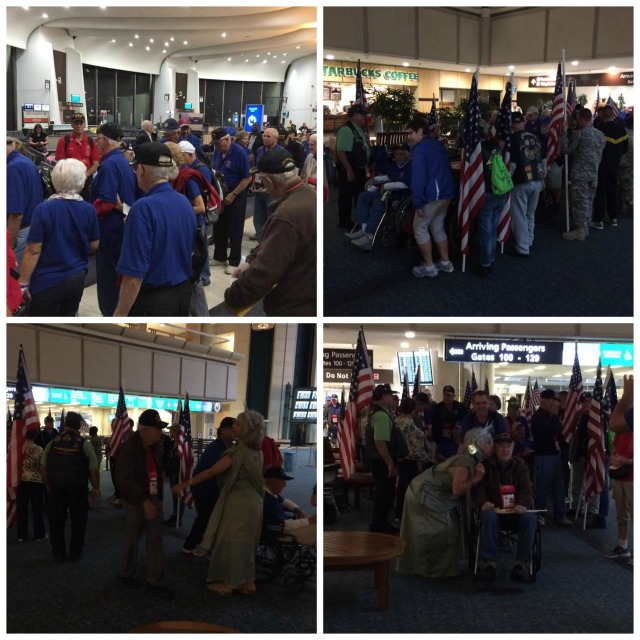 The honor flight vets getting ready to board the plane in DC, and then the vets being greeted upon our arrival in Orlando