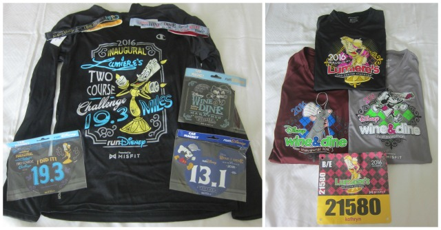 My expo purchases, my race shirts, and my bib