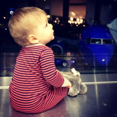 Little man during our delay, wondering when we'd get to leave so that he could go to sleep