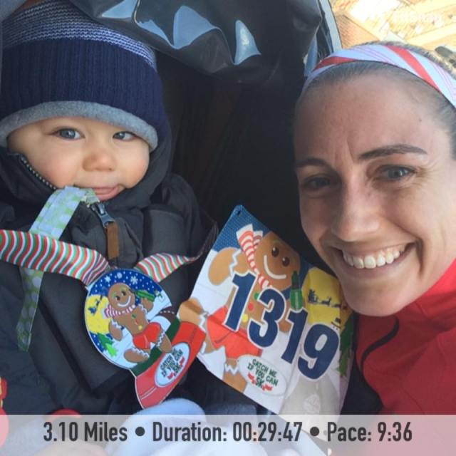 Little man and I after I completed the Catch Me If You Can Virtual 5k