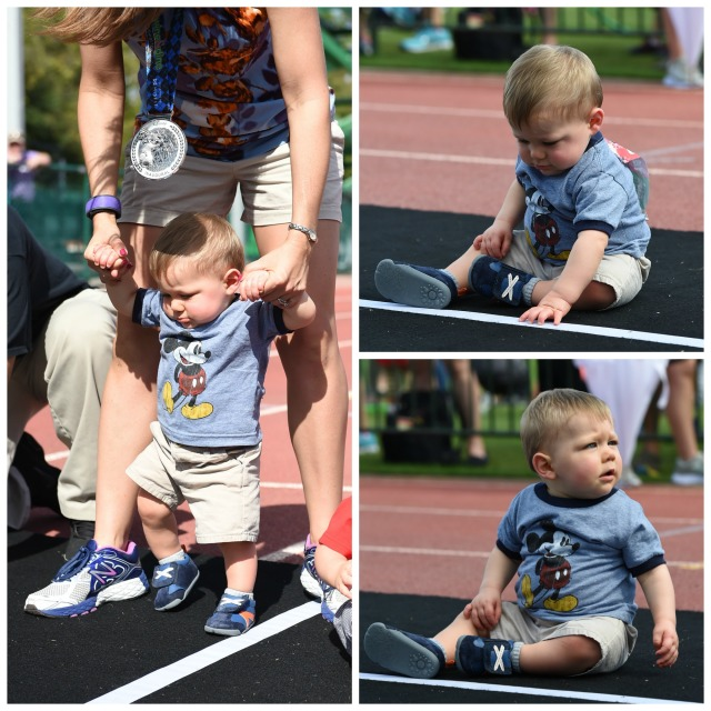 """Walking"" at the beginning of the race before he sat down and watched the other babies Photo Credit: Disney PhotoPass"