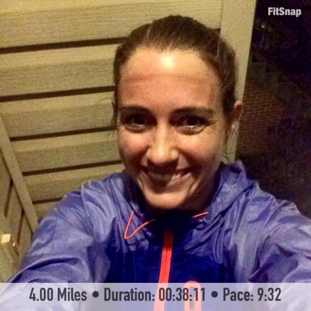 I didn't think that I'd get to complete my first run of this training cycle outside because of the rain throughout the day, and even took my gym bag to work with me. Thankfully the rain let up enough for me to be able to run 4 miles outside to kick off #RnRDC training. (And please pardon the hideous mark on my forehead from my visor!)