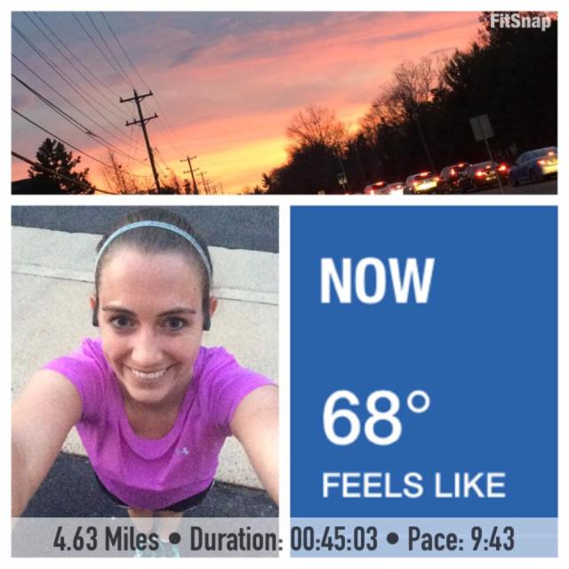 Mother Nature really is incredible sometimes! After snow and ice last weekend, it reached 70 degrees here on Thursday. It felt great to be able to wear short sleeves and shorts for Thursday's training run. The icing on the cake was the beautiful sunset that I got to witness as I finished up my run!