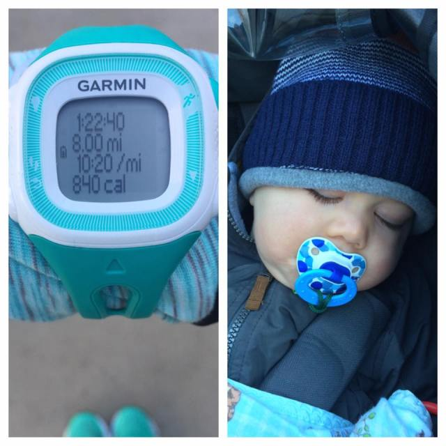 Yesterday's long run was made up of 5 stroller miles (while little man napped), followed by 3 solo miles. Running with the stroller is anything but easy, but hopefully it'll pay off on race day!