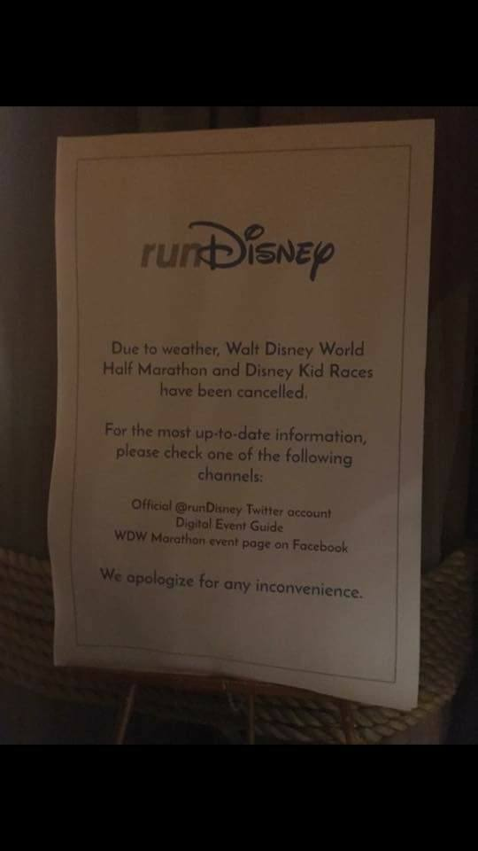 These signs were posted around the resorts as word started to get out about the canceled race Photo Credit: Elizabeth McKay