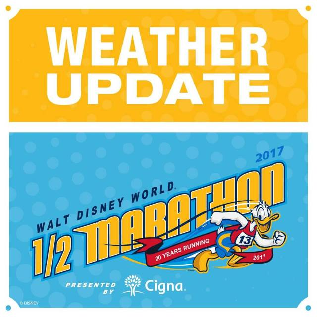 """The infamous """"Weather Update"""" logo from runDisney that was used several times last weekend as they posted updates online about the canceled half marathon"""
