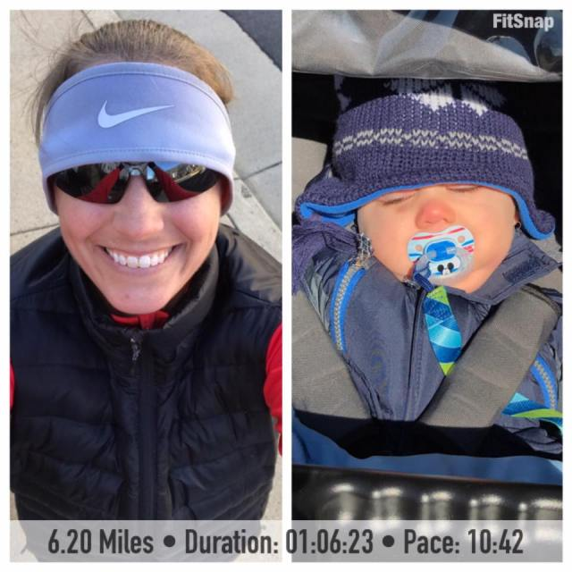 Boy was it cold out there for Saturday's run! It was 30 degrees, with a wind chill of 21, when I started my run. I pushed against the wind on a somewhat hilly route and reached a new stroller PDR. Little man didn't seem to mind the cold and wind one bit and napped during my entire run!